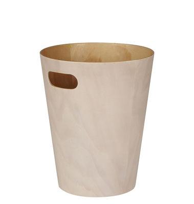 Image of Cestino per la carta Woodrow - / Cestino di legno - Ø 23 x H 28 cm di Umbra - Bianco/Legno naturale - Legno