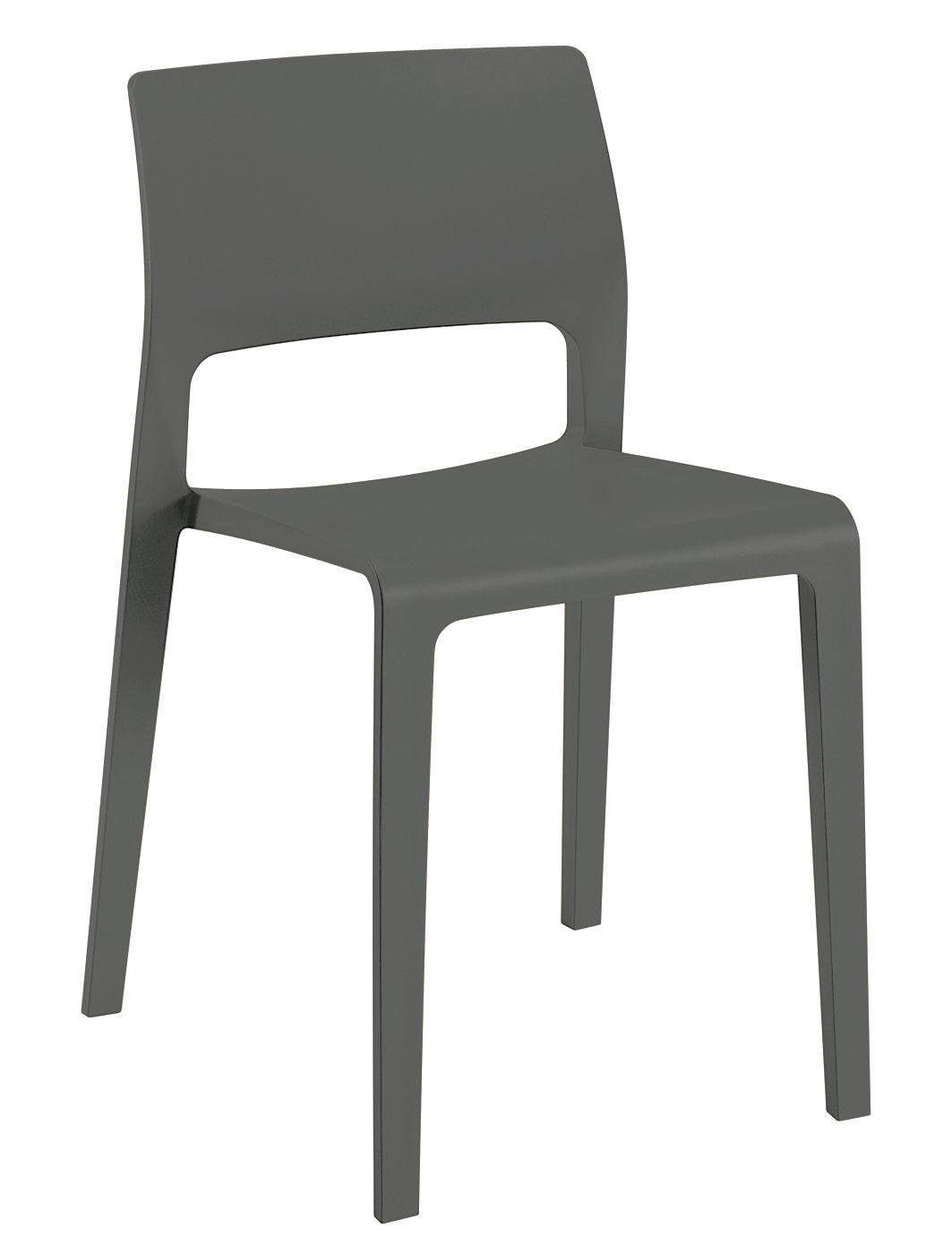 Mobilier - Chaises, fauteuils de salle à manger - Chaise empilable Juno / Polyproplylène - Arper - Anthracite - Polypropylène