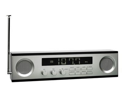 Decoration - Radios and alarm clocks - Long Clock radio by Lexon - Black - Aluminium - ABS, Aluminium
