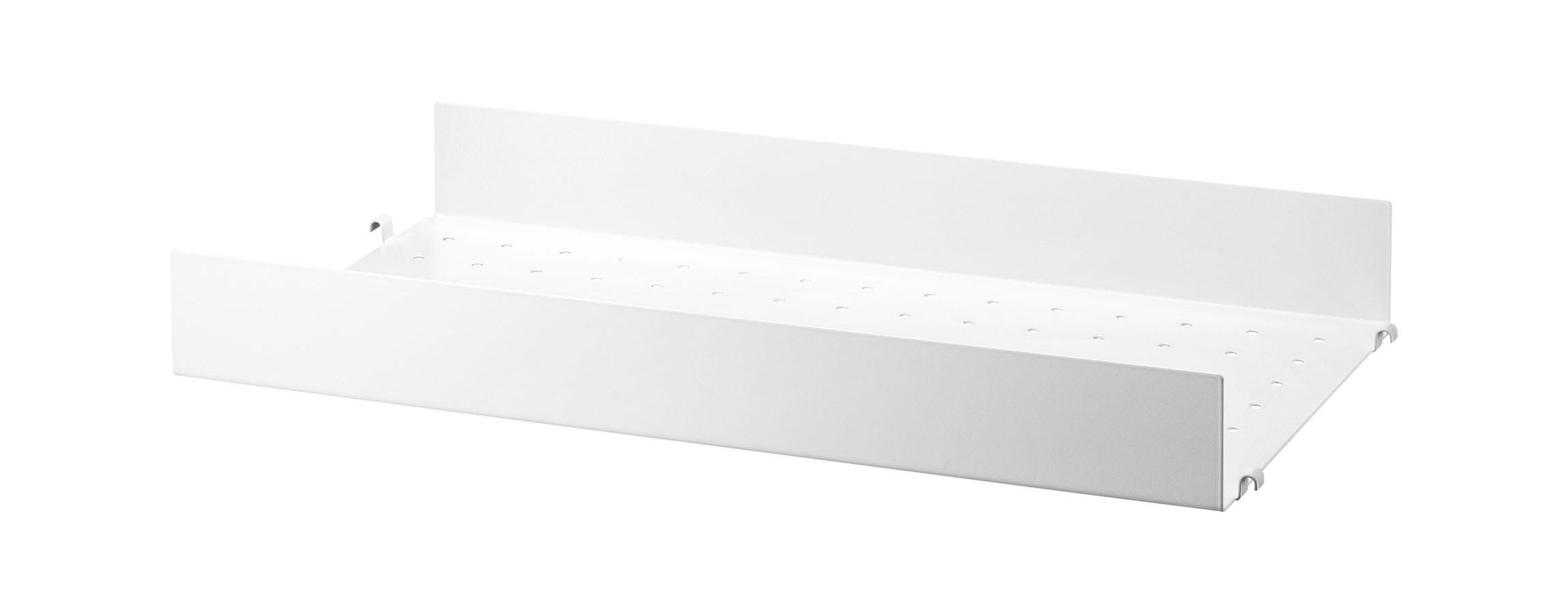 Mobilier - Etagères & bibliothèques - Etagère String System / Métal perforé, rebord HAUT - L 58 x P 30 cm - String Furniture - L 58 cm / Blanc - Métal laqué