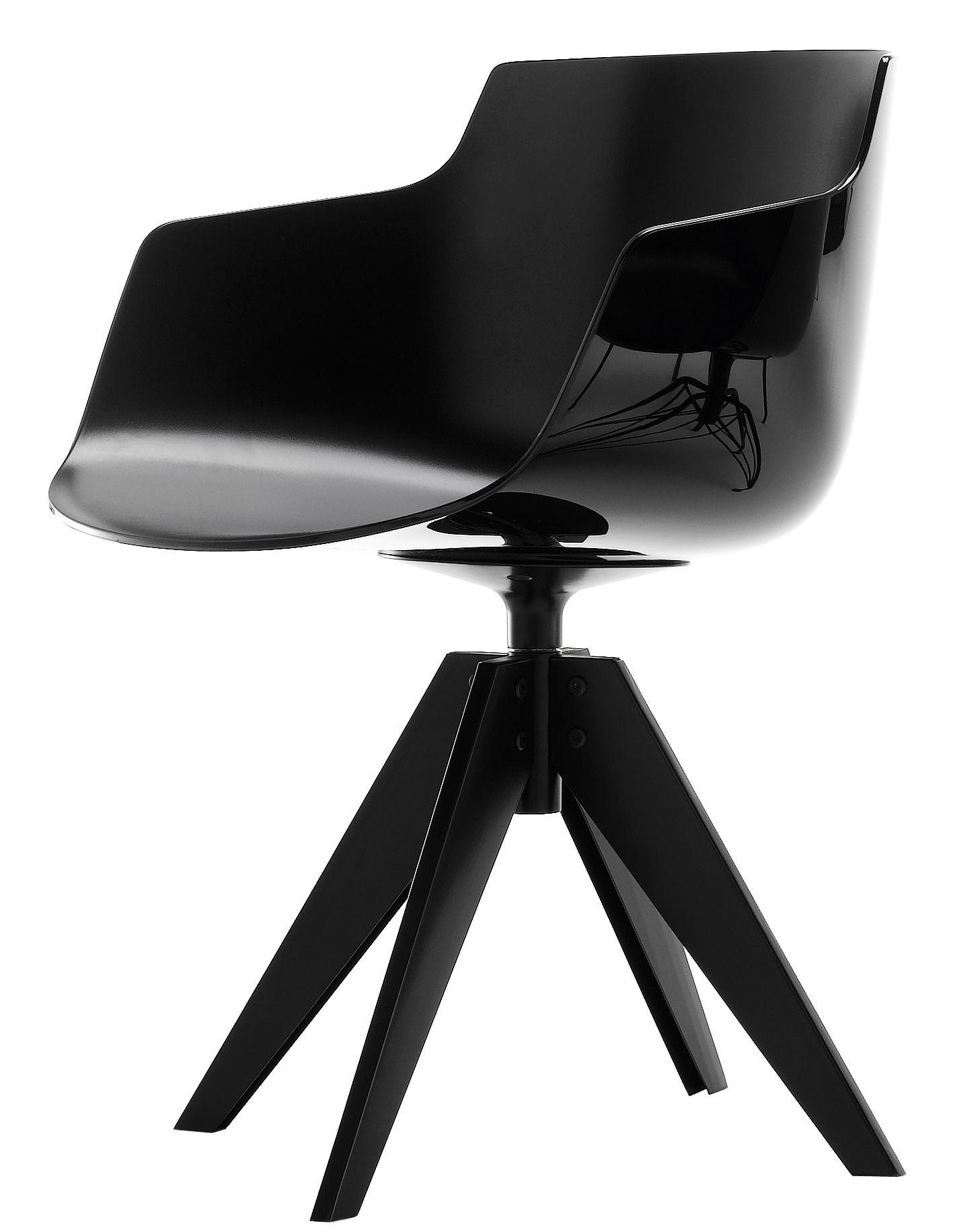 Mobilier - Chaises, fauteuils de salle à manger - Fauteuil Flow Slim / 4 pieds VN acier - MDF Italia - Noir / Piètement graphite - Acier laqué, Polycarbonate
