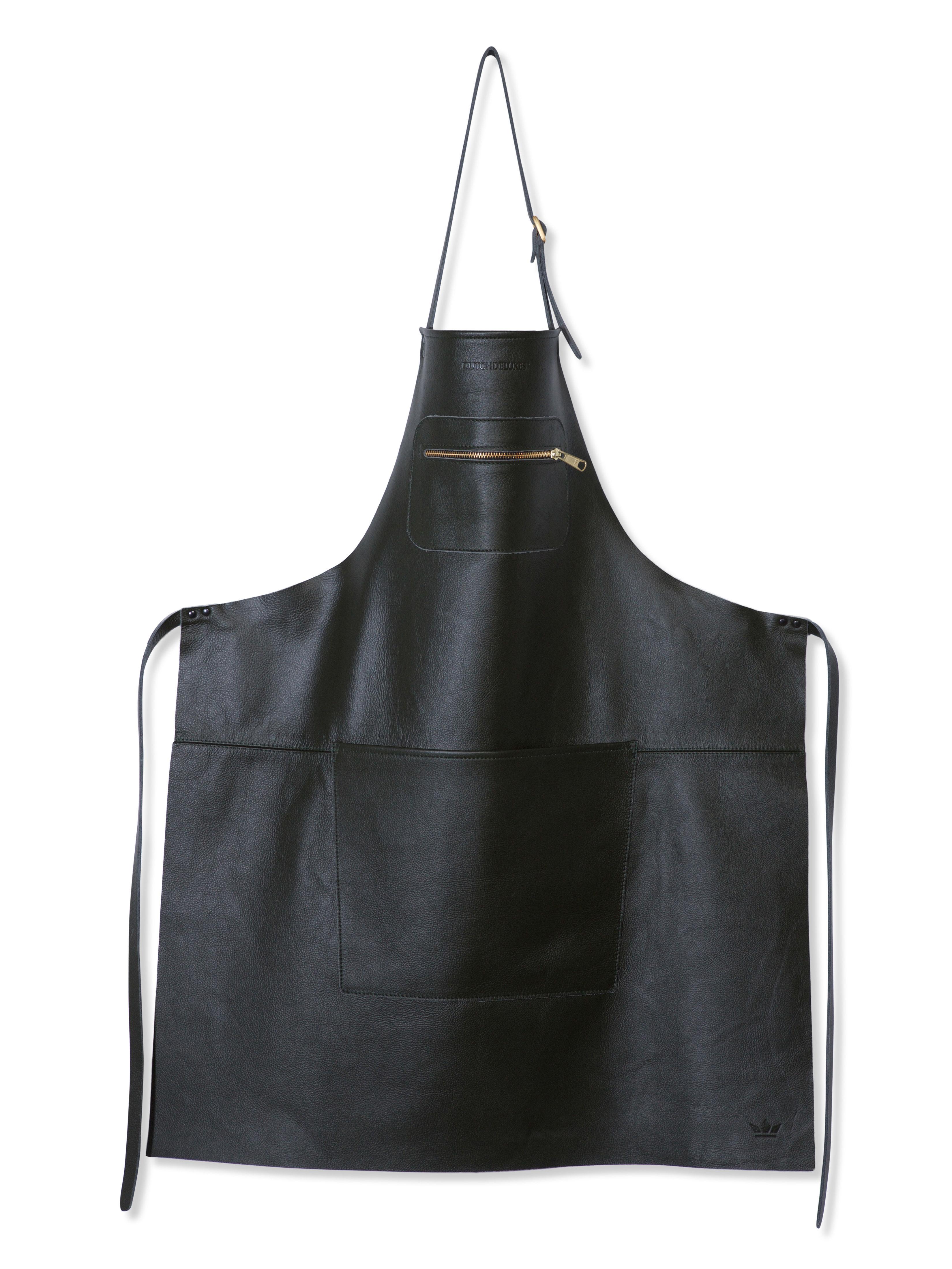 Küche - Schürzen und Geschirrtücher - Küchenschürze Leder / Reißverschlusstasche - Dutchdeluxes - Schwarz - Cuir pleine fleur