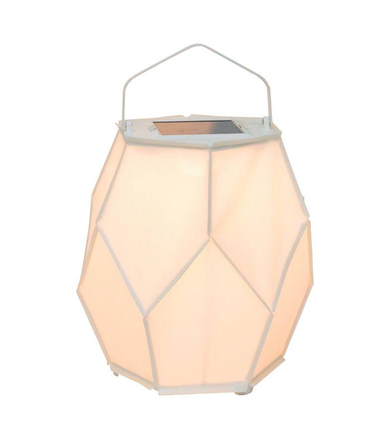 Luminaire - Lampes de table - Lampe solaire La Lampe Couture Large / Dock USB - Ø 56 x H 75 cm - Maiori - Blanc - Aluminium, Toile Batyline