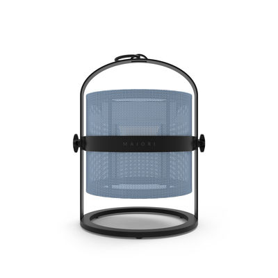 Lampe solaire La Lampe Petite LED / Hybride & connectée - Structure charbon - Maiori bleu/noir en métal/tissu
