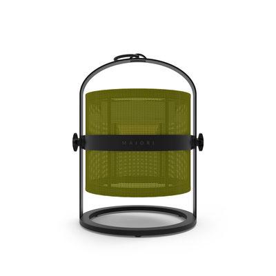 Lampe solaire La Lampe Petite LED / Hybride & connectée - Structure charbon - Maiori vert/noir en métal/tissu