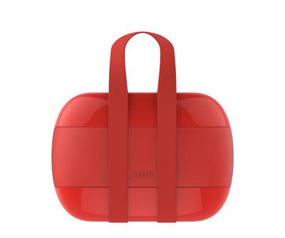Lunch box Food à porter / 2 compartiments - Alessi rouge en matière plastique