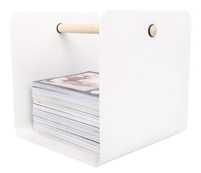Decoration - Boxes & Baskets - Flow Magazine holder by XL Boom - White - Natural wood, Painted steel