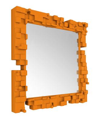 Miroir mural Pixel / 80 x 80 cm - Slide orange en matière plastique