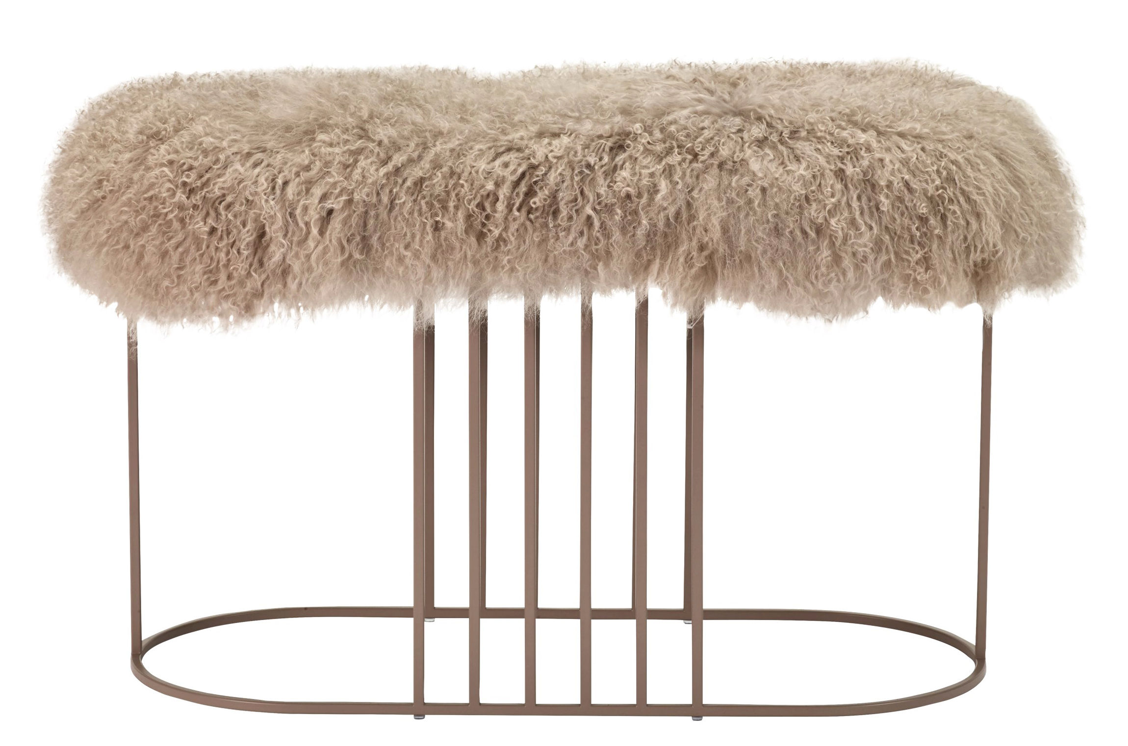 Arredamento - Pouf - Panca imbottita Posea Furry - / Pelle di pecora tibetana - L 80 cm di Bolia - Rosa / Base rosa - Acciaio verniciato, Espanso, Peau de mouton tibétaine