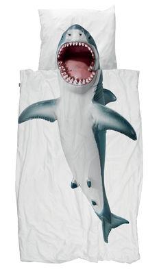 Déco - Pour les enfants - Parure de lit 1 personne Requin / 140 x 200 cm - Snurk - Requin - Percale de coton