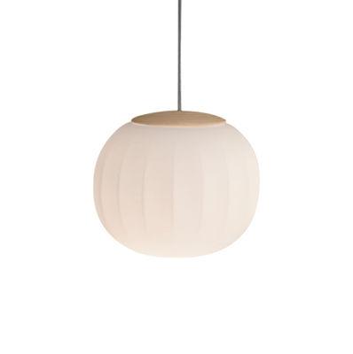 Lita Pendelleuchte / LED - Ø 18 cm - Luceplan - Esche,Opalinweiß