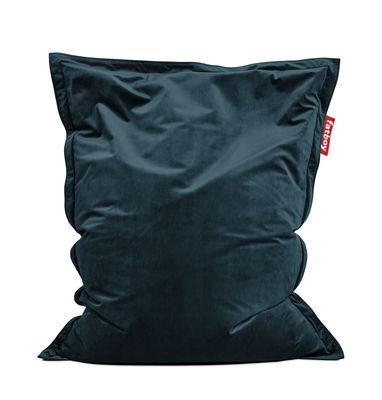 Pouf Original Slim Velvet / Velours - 155 x 120 cm - Fatboy 155 x 120 cm bleu pétrole en tissu
