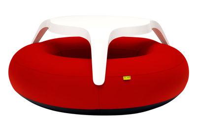 Mobilier - Bancs - Set table & assises DoNuts / Gonflable - Ø 190 cm - Blofield - Tissu Rouge acrylique - Caoutchouc, Polyester laqué, Tissu