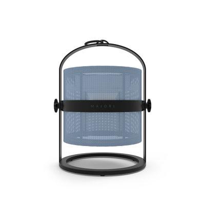 Leuchten - Tischleuchten - La Lampe Petite LED Solarlampe / kabellos - Gestell schwarz - Maiori - Königsblau / Gestell schwarz - Aluminium, Technisches Gewebe