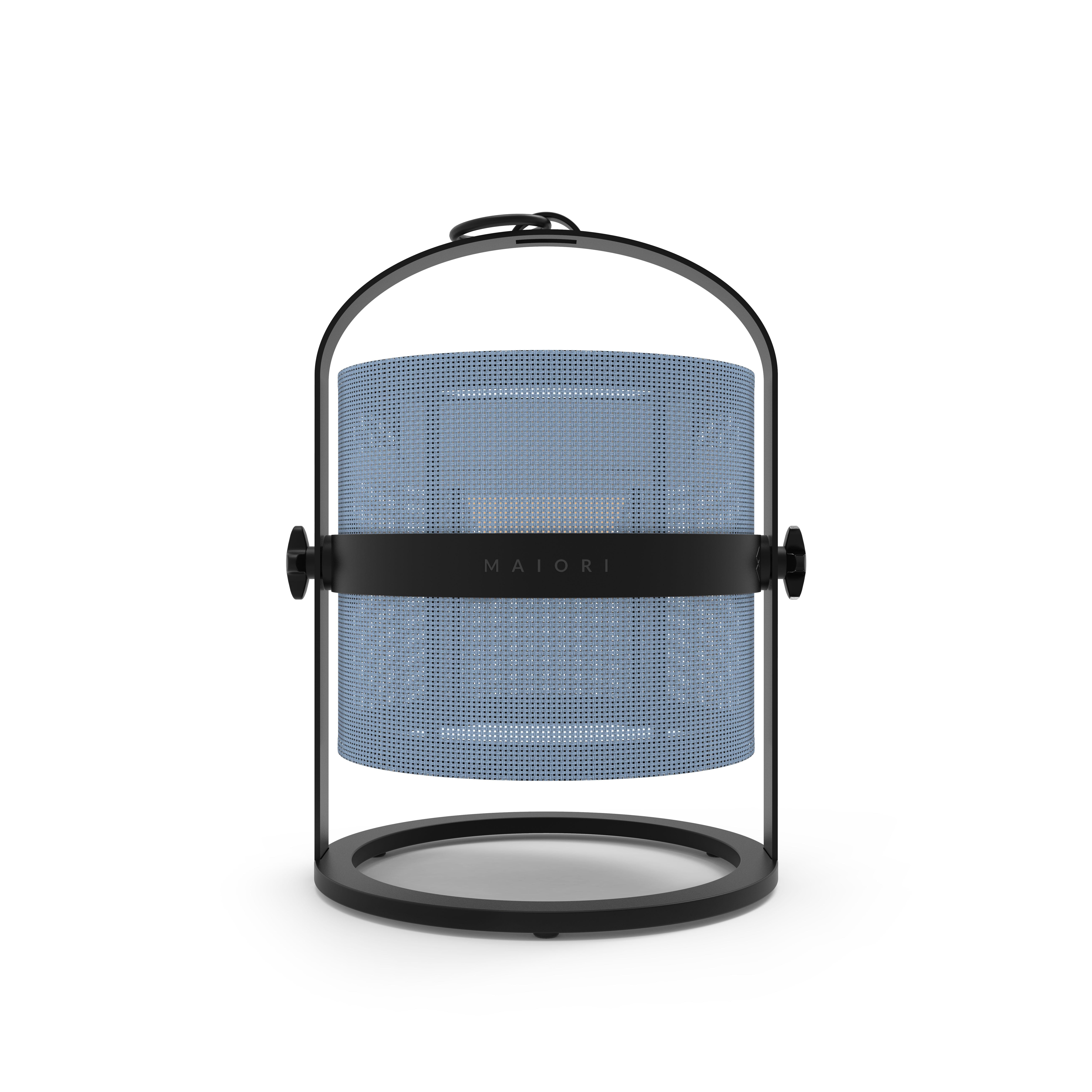 Leuchten - Tischleuchten - La Lampe Petite LED Solarlampe / kabellos - Gestell schwarz - Maiori - Königsblau / Gestell schwarz - Aluminium, Tissu technique