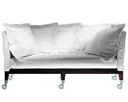 Furniture - Sofas - Neoz Straight sofa by Driade - Ebony - Aluminium, Linen, Mahogany