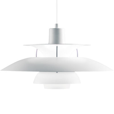 Luminaire - Suspensions - Suspension PH 5 Classic / Ø 50 cm - Finition mate - Louis Poulsen - Blanc mat / Disque interne violet - Aluminium