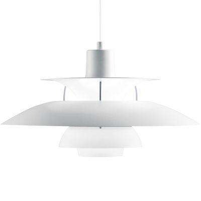 Luminaire - Suspensions - Suspension PH 5 Classic / Ø 50 cm - Finition mate - Louis Poulsen - Rouge & blanc / Tiges Lilas - Aluminium