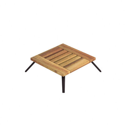 Mobilier - Tables basses - Table basse Welcome / 55 x 55 cm - Teck - Unopiu - 55 x 55 cm / Teck - Aluminium, Teck