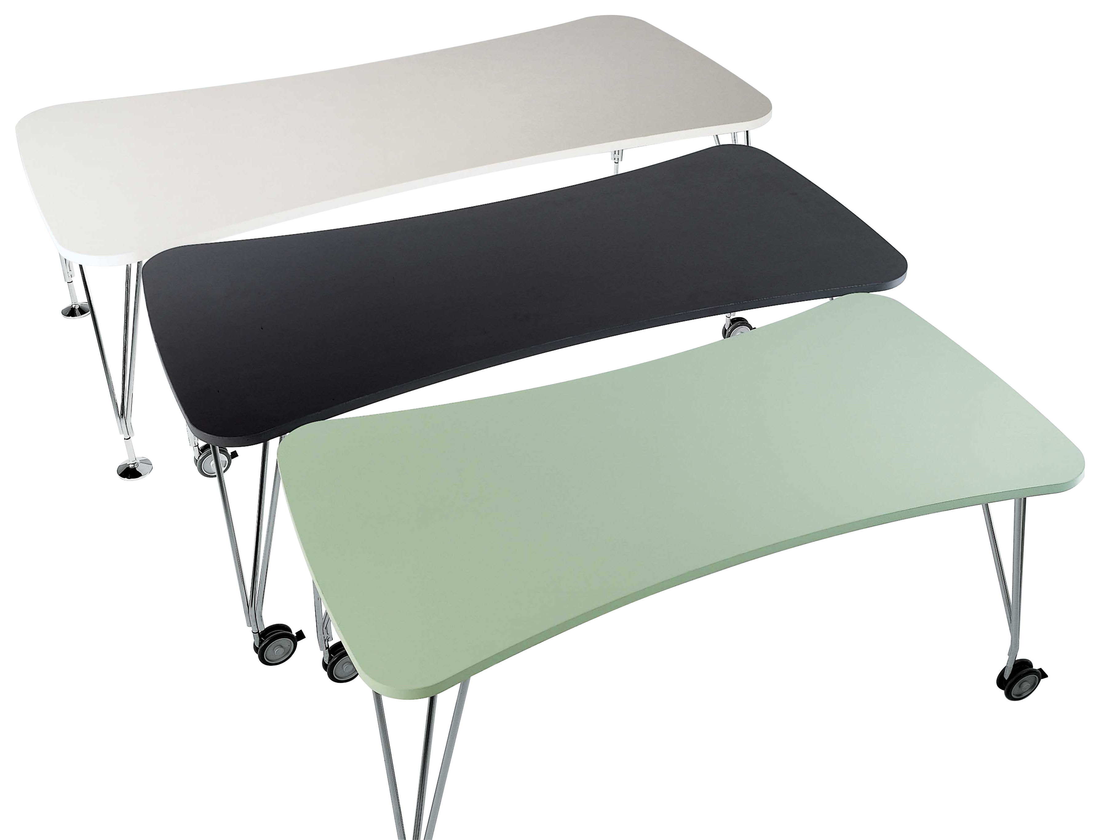 Furniture - Teen furniture - Max Table - Casters - 190 cm by Kartell - white 190 cm - Chromed steel, Laminate