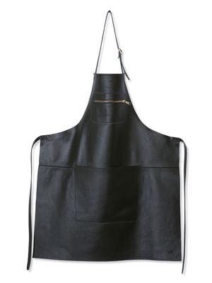 Tablier cuir / Poche zippée - Dutchdeluxes noir en cuir