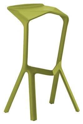 Tabouret de bar Miura H 78 cm Plastique Plank jaune vert en matière plastique