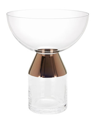 Déco - Vases - Vase Tank Large / Ø 30 cm x H 36 cm - Tom Dixon - Transparent / Cuivre - Verre soufflé bouche