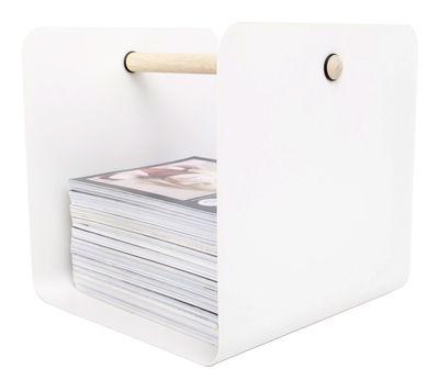Dekoration - Körbe und Ablagen - Flow Zeitungsständer / für Kaminholz & Flaschen - XL Boom - Weiß - bemalter Stahl, Holz, natur