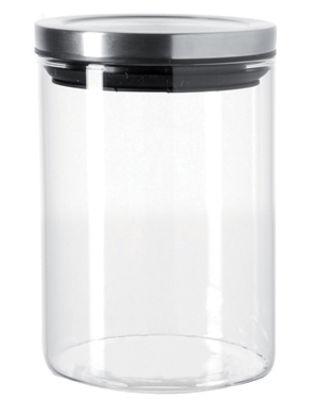 Kitchenware - Kitchen Storage Jars - Comodo Airtight jar by Leonardo - 50 cl - Transparent / glossy metal - Glass, Metal