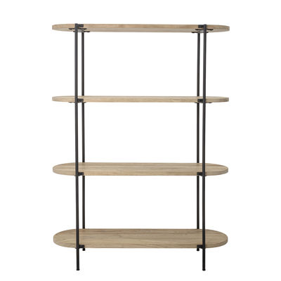 Furniture - Bookcases & Bookshelves - Bookcase - / Wood & metal - L 120 x H 160 cm / 4 shelves by Bloomingville - Wood / Charcoal grey - Lacquered iron, Mango tree
