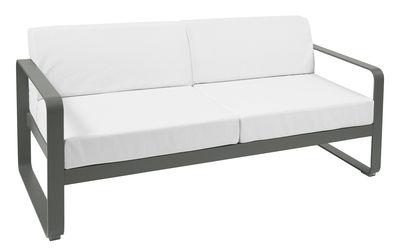 Mobilier - Canapés - Canapé droit Bellevie 2 places / L 160 cm - Tissu blanc grisé - Fermob - Romarin / Tissu blanc grisé - Aluminium laqué, Mousse, Tissu acrylique