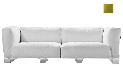 Canapé droit Pop Duo / structure transparente - L 255 cm - Kartell vert en tissu
