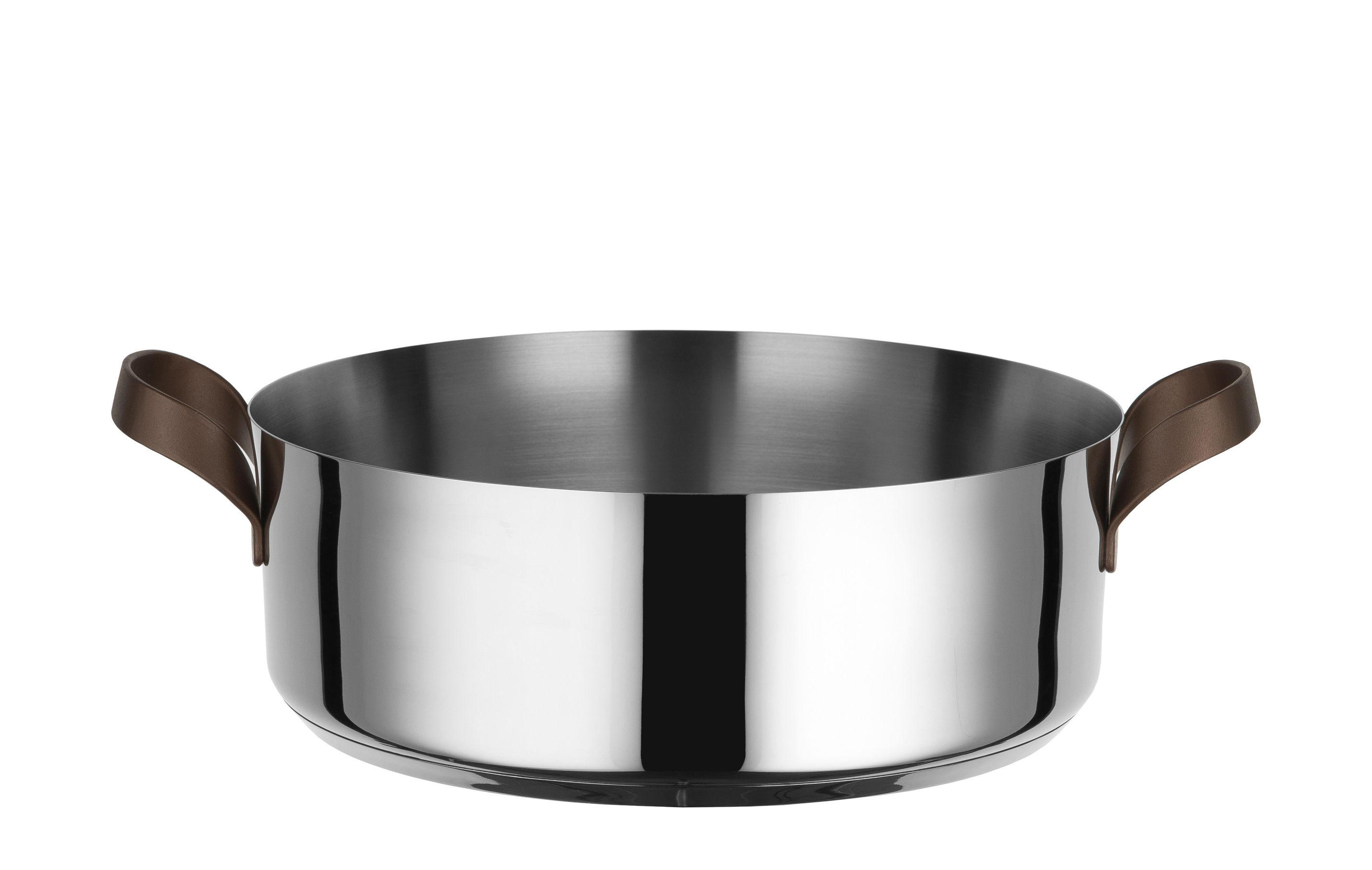 Cucina - Pentole, Padelle e Casseruole - Casseruola conica Edo - / H 10 cm - 3,25 L di Alessi - Acciaio / Manici marrone - Acciaio inox 18/10