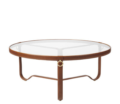 Furniture - Coffee Tables - Adnet Coffee table - / Ø 100 cm - Leather & glass by Gubi - Brown / Transparent - Brass, Glass, Leather, Metal