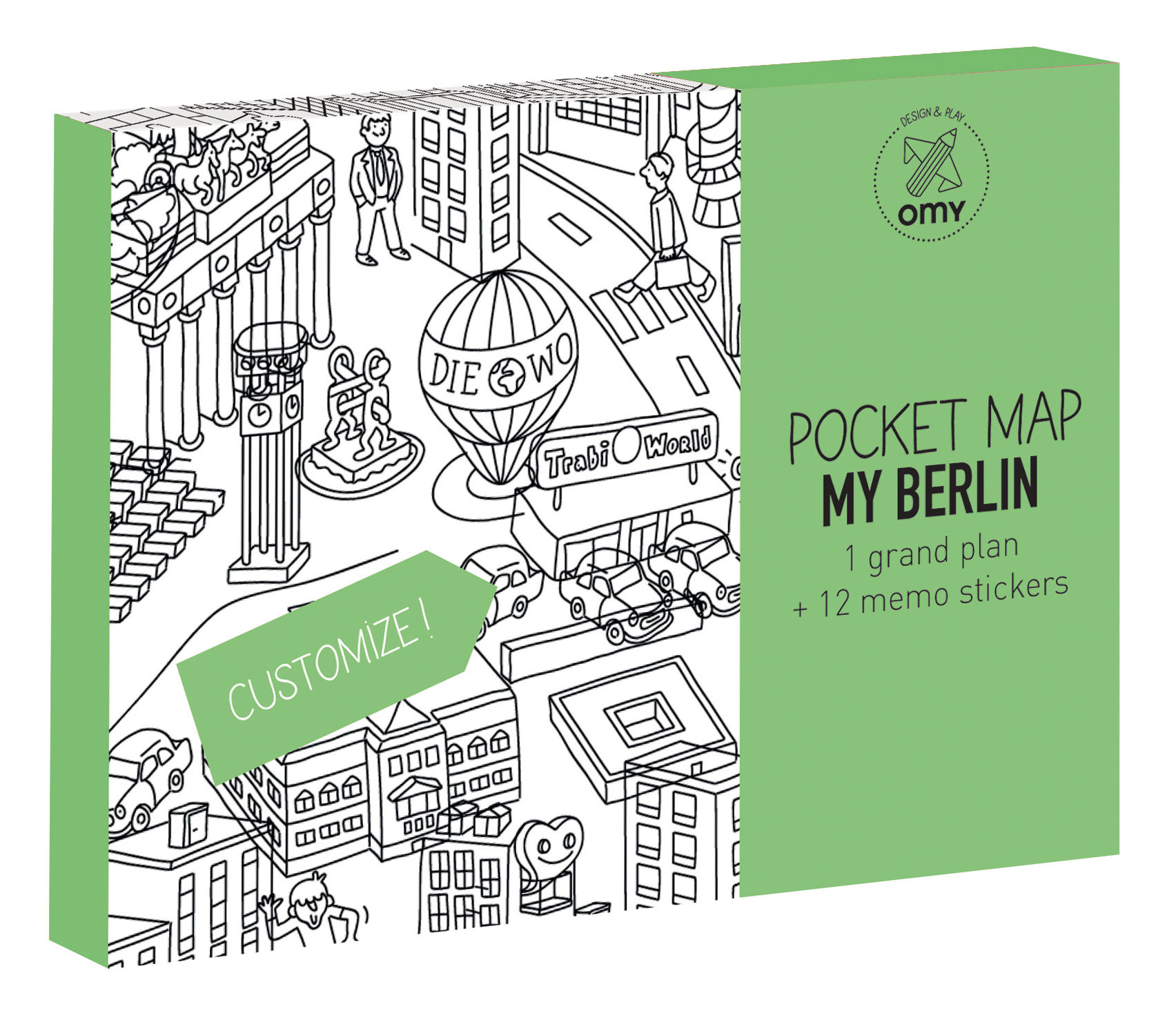 Decoration - Children's Home Accessories - Pocket Map - Berlin Colouring poster - Berlin by OMY Design & Play - Berlin/ Black & White - Paper