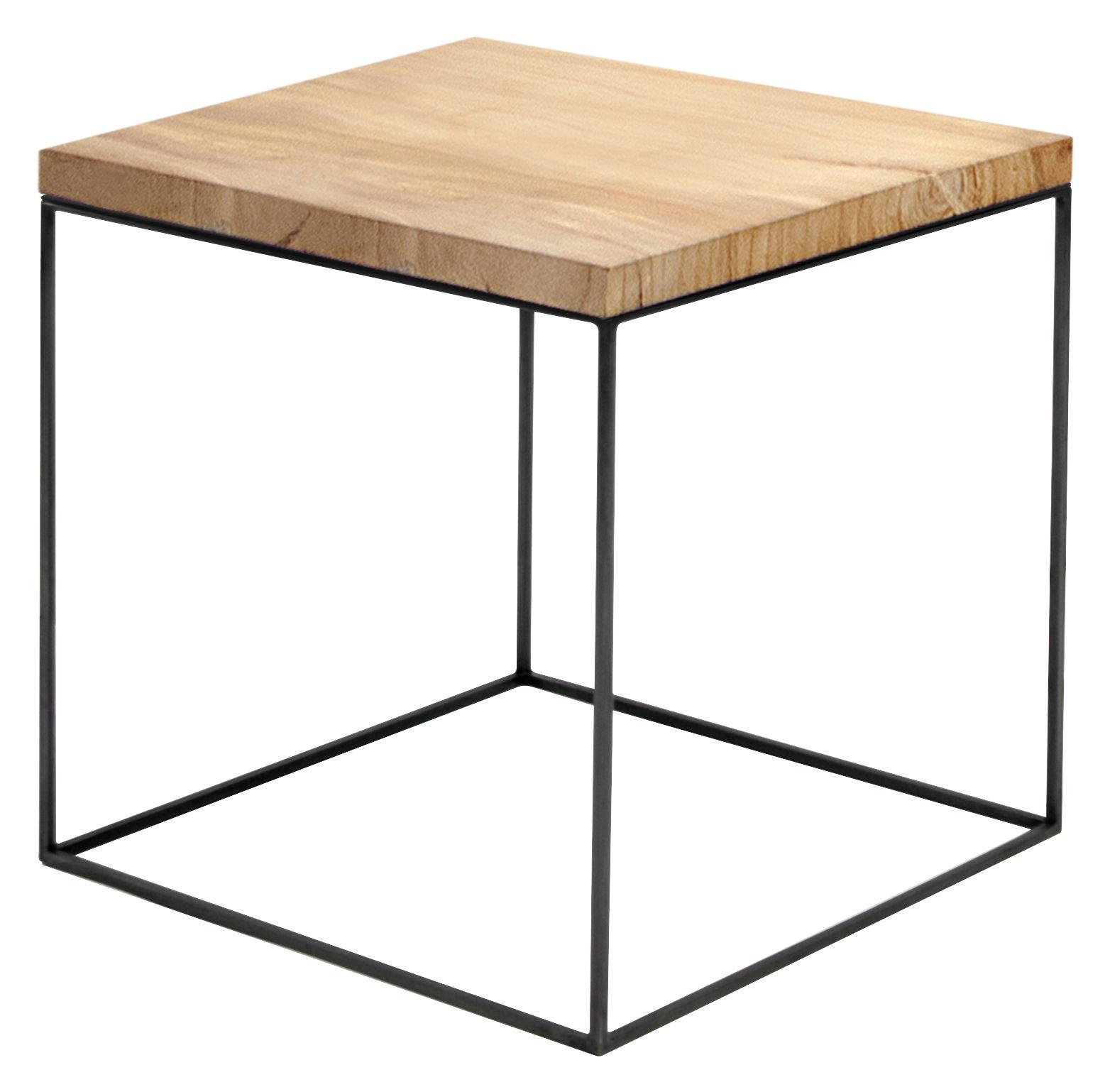 Möbel - Couchtische - Slim Irony Couchtisch / 41 x 41 x H 46 cm - Zeus - Holz natur - Stahl