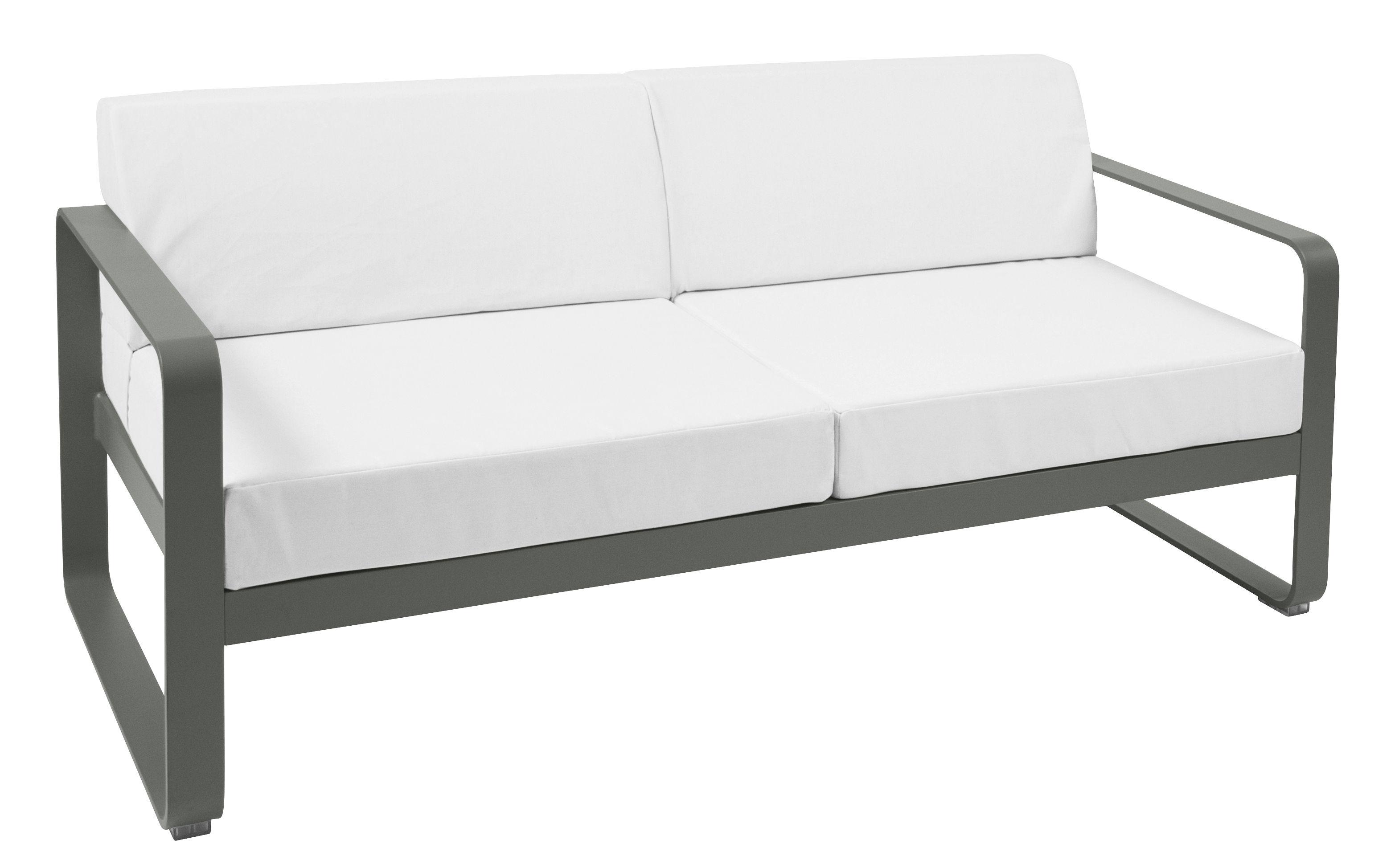 Arredamento - Divani moderni - Divano angolare destro Bellevie /  L 160 cm - 2 posti - Fermob - Rosmarino - Alluminio, Tessuto acrilico