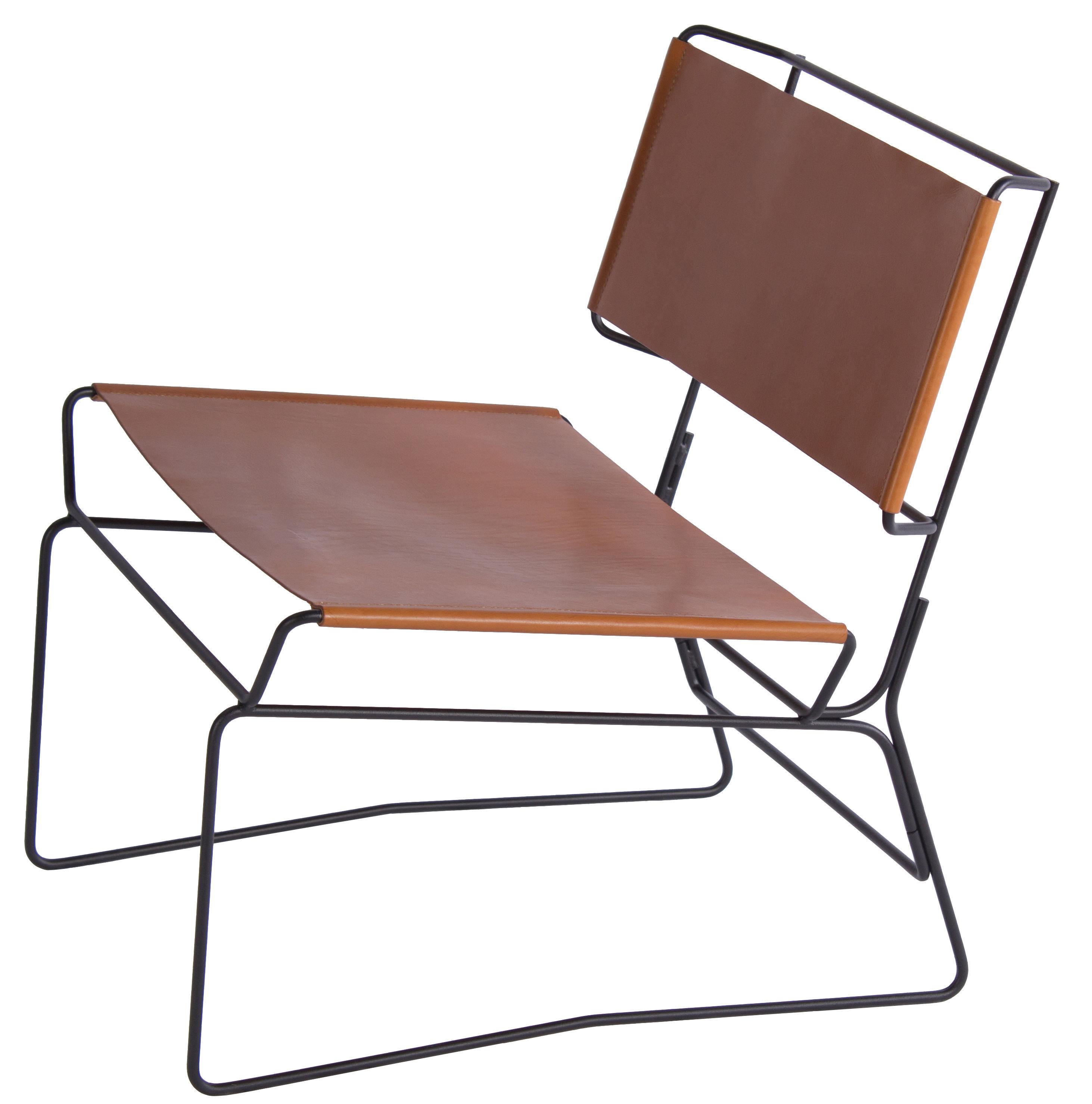 Mobilier - Fauteuils - Fauteuil bas Fil / Cuir naturel - AA-New Design - Cuir naturel / Structure noire - Acier laqué époxy, Cuir