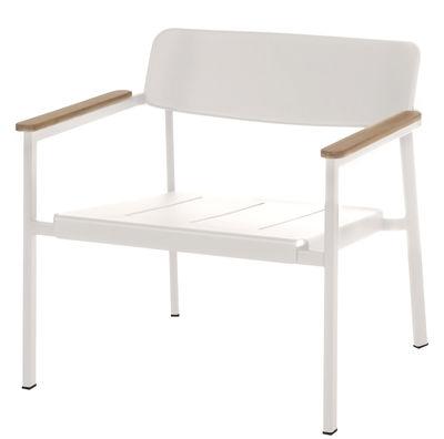 Mobilier - Fauteuils - Fauteuil bas Shine - Emu - Blanc / Accoudoirs teck - Aluminium verni, Teck