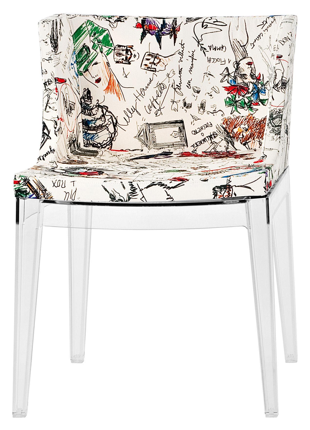 Mobilier - Chaises, fauteuils de salle à manger - Fauteuil rembourré Mademoiselle Moschino / Tissu & pieds transparents - Kartell - Esquisse - Polycarbonate, Tissu