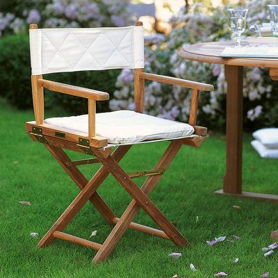 Furniture - Chairs - Ginger Folding armchair - / Teak & canvas - Cushion by Unopiu - Ecru white / Teak - Cotton, Teak