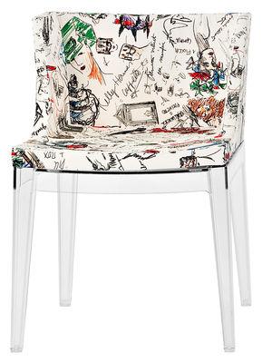 Möbel - Stühle  - Mademoiselle Moschino Gepolsterter Sessel Gestell transparent - Kartell - Beine transparent / Skizzen-Motiv - Gewebe, Polykarbonat