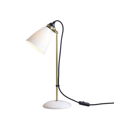 Lampe de table Hector 30 / H 57 cm - Porcelaine lisse - Original BTC blanc,laiton satiné en céramique