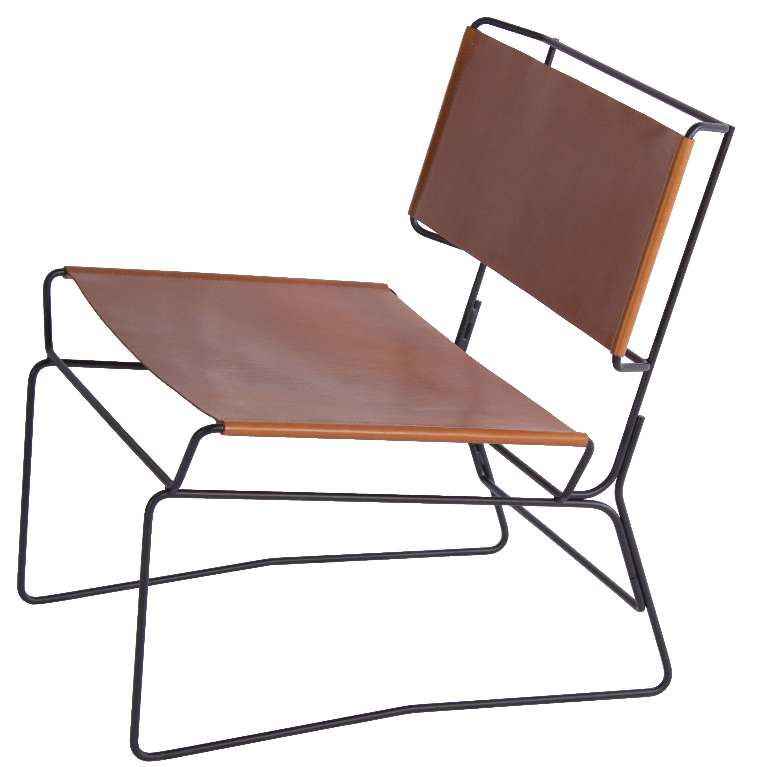 Furniture - Armchairs - Fil Low armchair by AA-New Design - Natural leather / Black structure - Epoxy lacquered steel, Leather