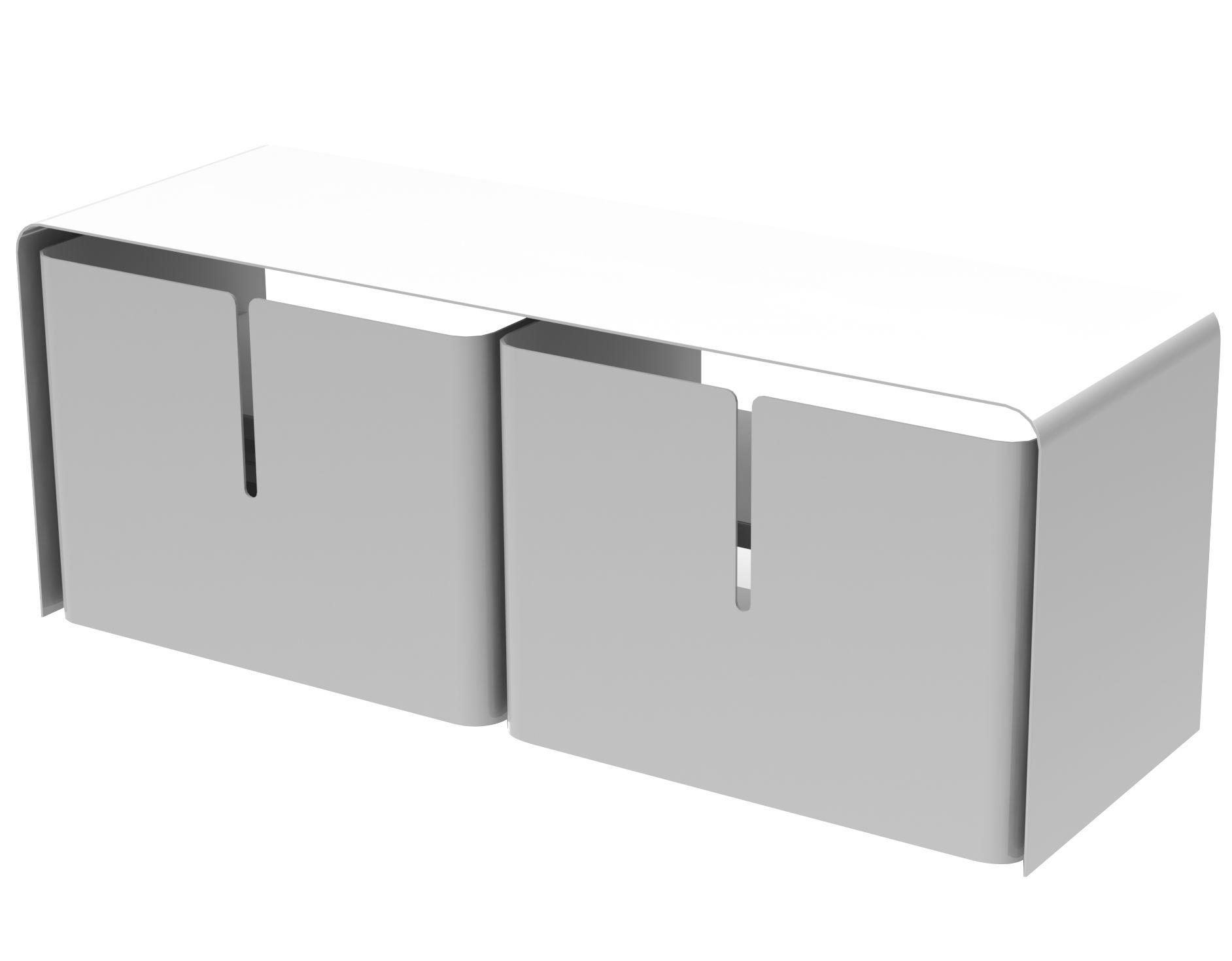 Mobilier - Commodes, buffets & armoires - Meuble TV Barber / 2 tiroirs - L 110 cm - Matière Grise - Blanc - Acier laqué