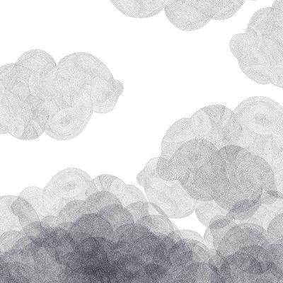 Déco - Stickers, papiers peints & posters - Papier peint Cloudy / 2 lés - Bien Fait - Blanc / Noir - Papier intissé