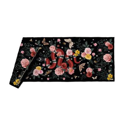 Decoration - Bedding & Bath Towels - Serpent Plaid - / Velvet - 85 x 200 cm by PÔDEVACHE - Black - Fabric, Polyester, Velvet
