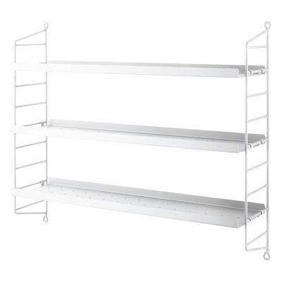 Möbel - Regale und Bücherregale - String® Pocket Metal Regal / Lochstahl - L 60 x H 50 cm - String Furniture - Weiß - lackierter Stahl