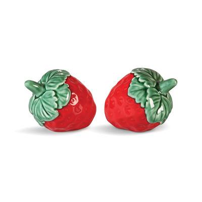 Egg Cups - Salt & Pepper Mills - Strawberry Salt and pepper set - / Ceramic by & klevering - Red & green - Ceramic