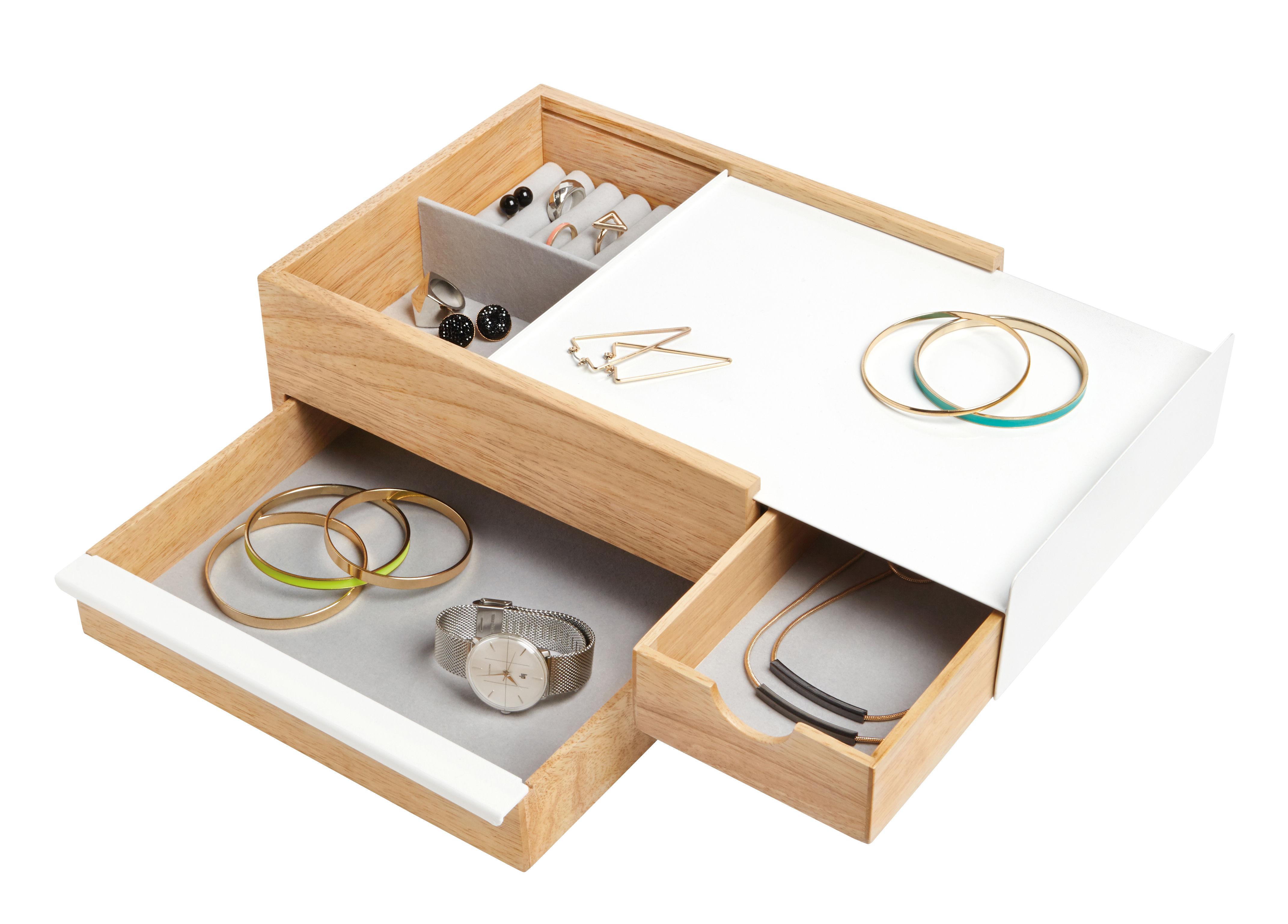 Dekoration - Schachteln und Boxen - Stowit Large Schmuckschatulle / 28 x 20 cm - Umbra - Groß / weiß & holzfarben - Holz, lackiertes Metall